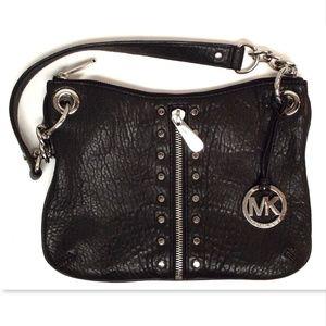 MICHAEL KORS MK Logo Black Leather Shoulder Bag